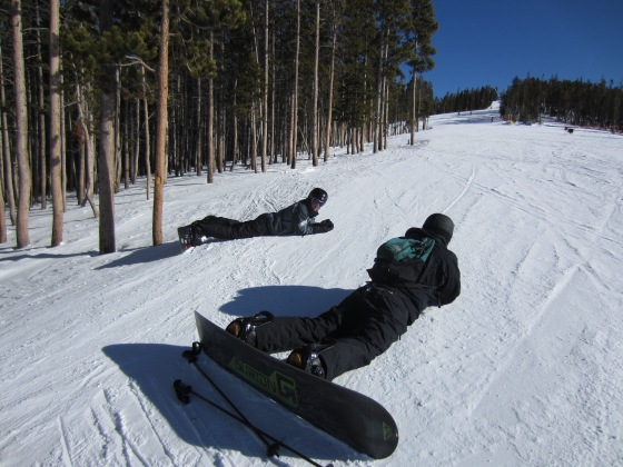 Kurtis and Darren taking a break on the slopes